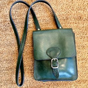 Roots | Leather Crossbody Messenger Bag Green
